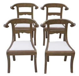 Set of 4 C1900 brass Anglo Indian dining chairs