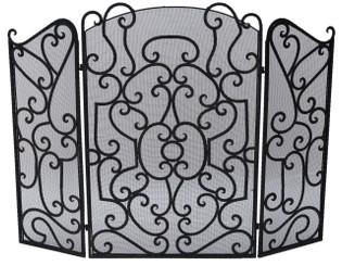 Gothic wrought iron steel fire place screen