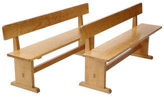 Pair of oak benches seats