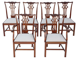 Set of 6 (4+2) mahogany Georgian dining chairs