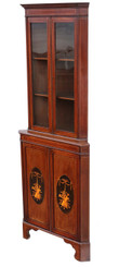 Edwardian inlaid mahogany display corner cabinet