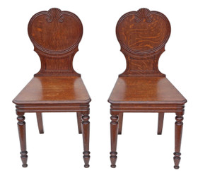 Pair of Victorian oak hall side chairs