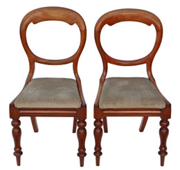 Pair of Victorian mahogany balloon back dining chairs