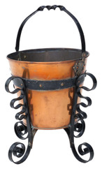 Early 20C iron and brass coal scuttle bucket