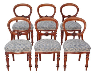 Set of 6 Victorian C1870 mahogany balloon back dining chairs