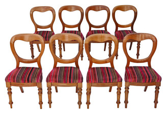Set of 8 Victorian light mahogany balloon back dining chairs
