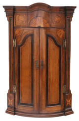 Georgian inlaid crossbanded oak corner cupboard