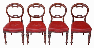 Set of 4 William IV mahogany balloon back dining chairs