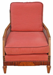 Art Deco burr walnut & Rosewood Bergere armchair