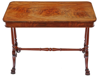 Victorian flame mahogany stretcher centre table