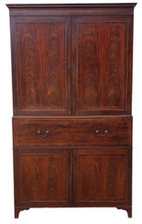 Regency C1825 mahogany secretaire linen press wardrobe