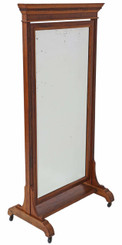 Victorian walnut and oak cheval mirror