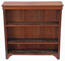 Victorian adjustable walnut open bookcase C1900
