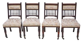 Set of 4 Victorian walnut dining chairs