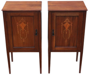 Pair of Edwardian inlaid bedside tables