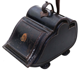 Victorian Japanned steel coal scuttle