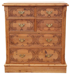 Pine pokerwork chest of drawers