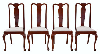 Set of 4 Queen Anne revival mahogany high back dining chairs