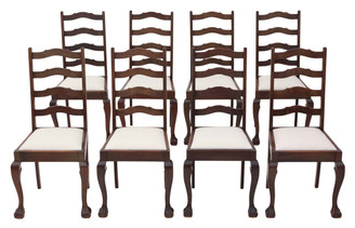 Set of 8 mahogany ladder back dining chairs