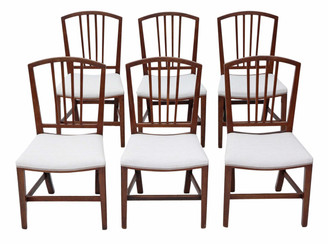Set of 6 Victorian mahogany Georgian revival dining chairs