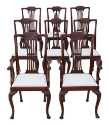 Set of 8 (6+2) C1920 mahogany Chippendale revival dining chairs