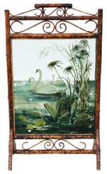 Victorian C1900 bamboo decorated glass fire screen swans