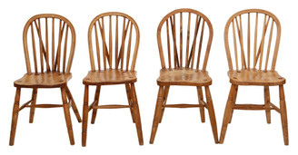Set of 4 Victorian ash, elm and beech kitchen dining chairs