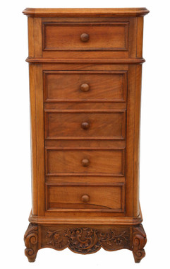French walnut and marble bedside table and washstand