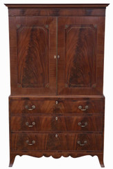 Georgian mahogany linen press wardrobe