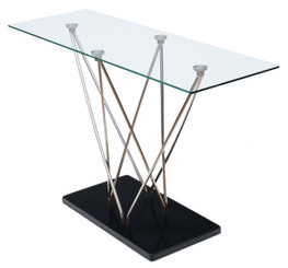 Modern quality glass, stainless steel and granite console table