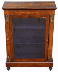 Inlaid burr walnut pier display cabinet
