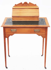 Victorian satinwood leather ladies writing table desk