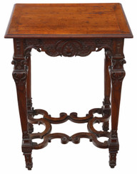 Victorian Gothic carved walnut side table