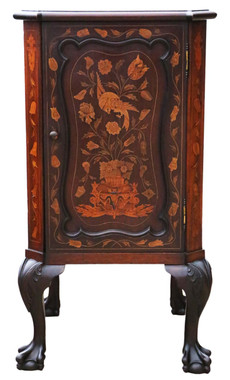 Marquetry inlaid mahogany bedside table