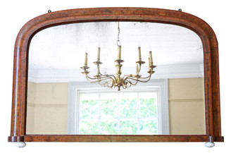 Victorian burr walnut wall mirror overmantle