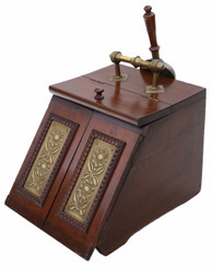 Art Nouveau beech walnut and brass coal scuttle box