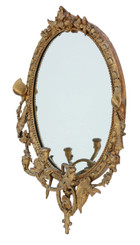 19th Century large gilt girandole wall mirror