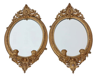 Pair early 19th Century gilt girandole wall mirrors