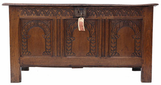 Georgian 18th Century carved oak coffer