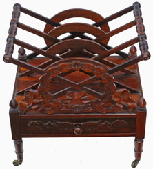 Georgian rosewood Canterbury magazine rack