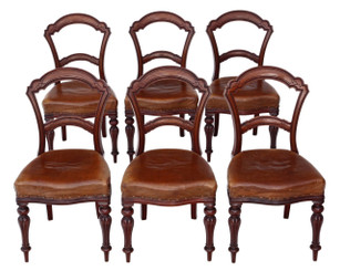 Set of 6 Victorian C1880 walnut leather balloon back dining chairs
