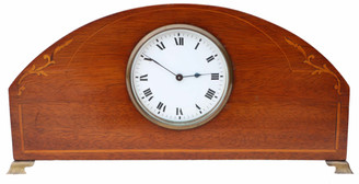 Edwardian inlaid mahogany mantle clock