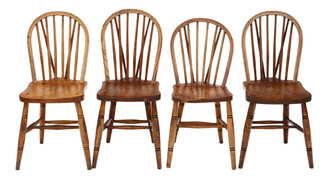 Set of 4 Victorian ash, elm & beech kitchen dining chairs
