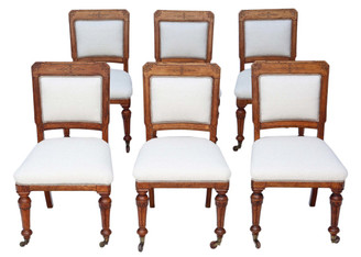 Set of 6 Victorian Aesthetic oak dining chairs