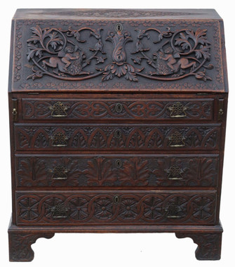 Georgian C1800 carved oak bureau desk