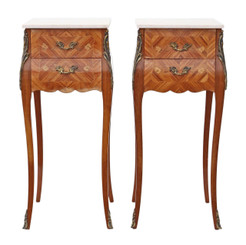 Pair of French Inlaid mahogany kingwood bombe style bedside tables
