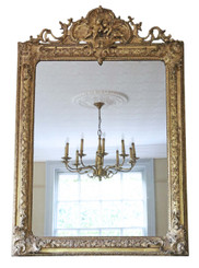 Victorian large gilt overmantle wall mirror