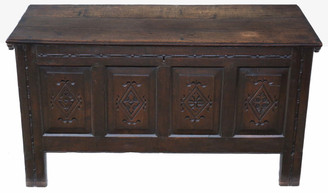 18th Century Georgian carved oak coffer or mule chest