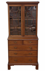 Georgian revival mahogany glazed bookcase on chest