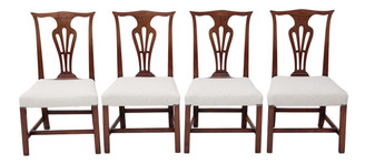 Set of 4 Georgian mahogany Chippendale style dining chairs